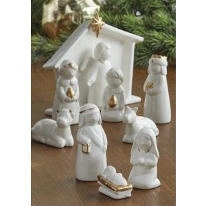 Ceramic with Gold Detail Small Nativity 10pc