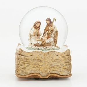 "Holy Family 6"" Music Gold Book Glitterdome"