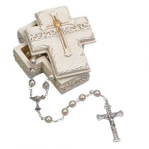 Communion Cross Box White Gold