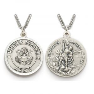 """ACM208 Army/St. Michael Medal Necklace 24"""""""