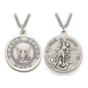 "ACM209 Navy/St. Michael Medal Necklace 24"""
