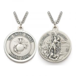 "ACM210 Marines/St. Michael Medal Necklace 24"""