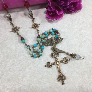 """Turquoise with Swarovski 30""""Cross Necklace"""