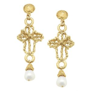 Gold Wire Cross & Pearl Drop Earrings