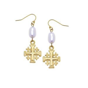 Jerusalem Cross Pearl Earrings