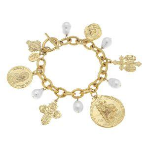 Freshwater Pearl & Saints Gold Bracelet