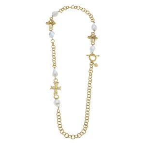 "34"" Gold Cross Baroque Chain Necklace"