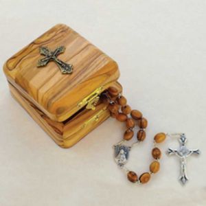 Olive Wood Cross Box and Rosary
