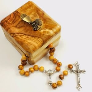 Olivewood Rosary and First Communion Box