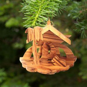 838 Olive Wood Nativity Ornament