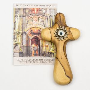 Olive Wood Cross for Comfort with Relic