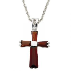 "Birthstone Cross 18"" Chain"