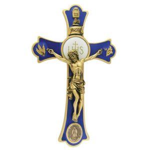 """8"""" Holy Mass Crucifix Guadalupe Gold"""
