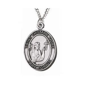 St Thomas More Sterling Medal Necklace 24''