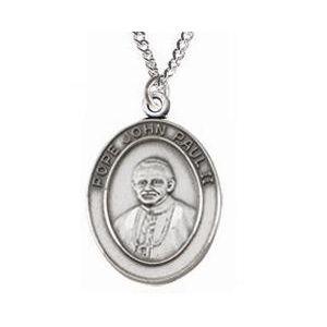 Pope John Paul Sterling Medal Necklace 24''
