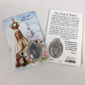 OL Fatima Prayer Card w/Medal