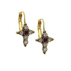 Crystal Delicate Cross Earring