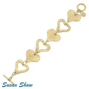 Golden Heart Link Bracelet