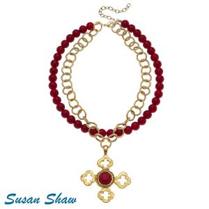 Golden Cross Coral Necklace