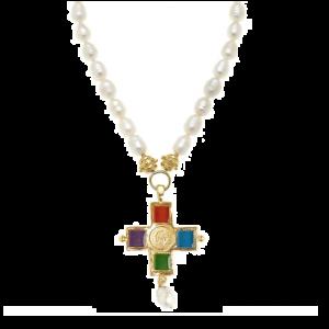 Enamel Cross Pearl Necklace