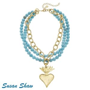 Genuine Turquoise Flaming Heart Necklace