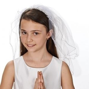 First Communion Viel with Pearl & Crystal Headband