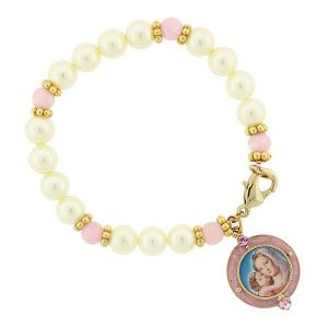 Pink Madonna & Child Pearl Bracelet