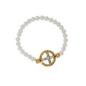 Pearl Stretch Cross Bracelet