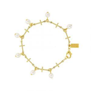 Pearl Multi Cross Bracelet