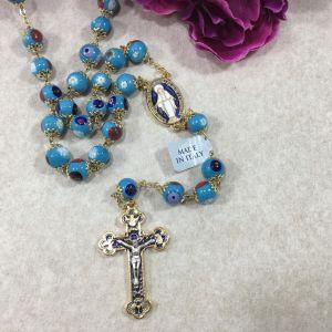 800 Murano Glass Rosary - Aqua