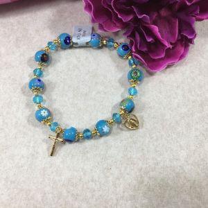 Murano Glass Stretch Bracelet - Aqua