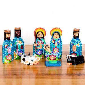 "Handmade Guatemala Nativity Set 4"""