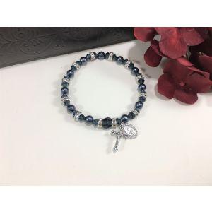 Pearl & Crystal Navy Bracelet