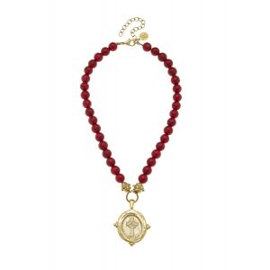 Red Coral Necklace w/Gold Cross Charm