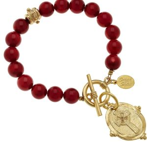 Red Coral Bracelet w/Gold Cross Charm