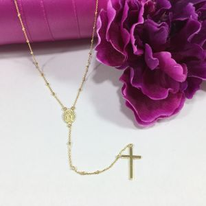 Vermeil Tiny Miraculous Rosary Necklace