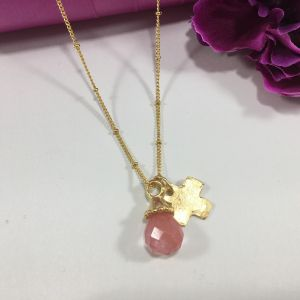 Crystal Drop Necklace with Goldplated Cross Charm
