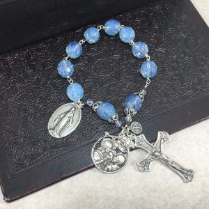 Faceted Blue Czech Glass One Decade Rosary