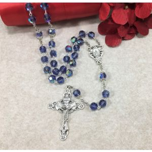 8mm Tanzanite Czech Glass Rosary