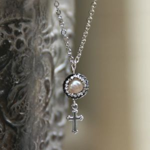 Freshwater Pearl Cross Necklace