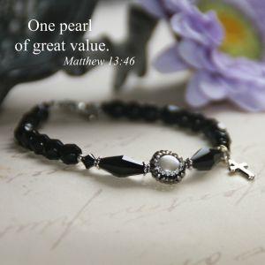 Freshwater Pearl Black Crystal Bracelet
