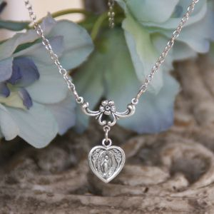 711 Miraculous Heart with Flower Necklace