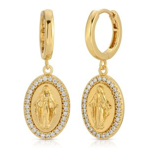 Our Lady of Grace Earrings Circled in Crystal