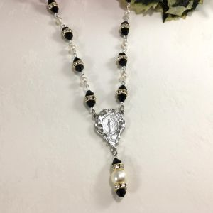 Pearl & Black Crystal Rosary Necklace