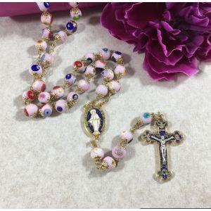 811 Murano Glass Rosary - Pink
