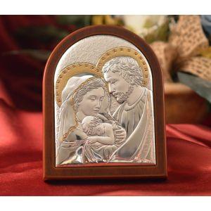 Italian Holy Family Silver Plaque