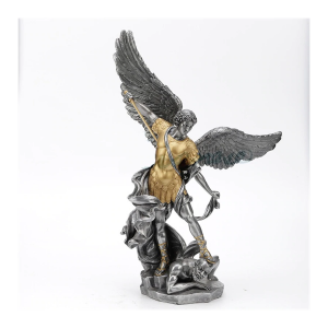 "Saint Michael Pewter w/Gold Statue 14"""