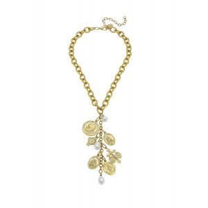 Saints Charm Necklace w/Freshwater Pearls