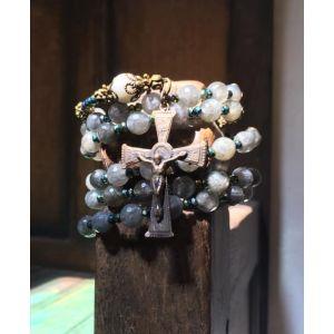 Labadorite and Moonstone Rosary Wrap Bracelet