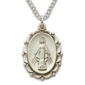 Sterling Silver Filigree Miraculous Medal